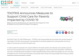TOOTRiS Announces Measures to Support Child Care for Parents Impacted by COVID-19